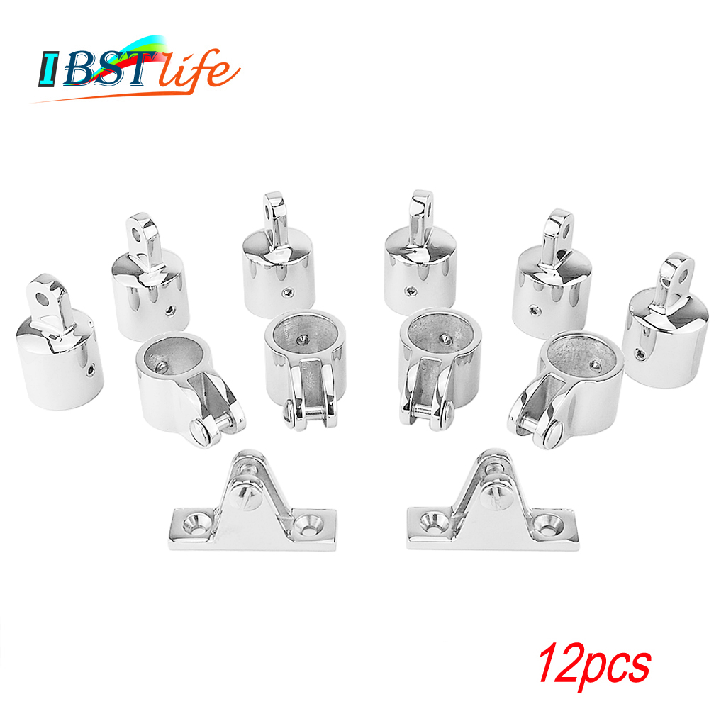 12 PCS Universal 3-Bow Bimini Top Stainless Steel 316 Marine Hardware Set Deck Hinge Jaw Slide Eye End Fitting Boat Accessories