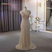 كامل الخرز الشمبانيا اللون شاطئ نمط فستان الزفاف فستان الزفاف مثير شفاف