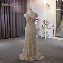 Full beading champagne color beach style wedding dress bridal dress sexy transparent