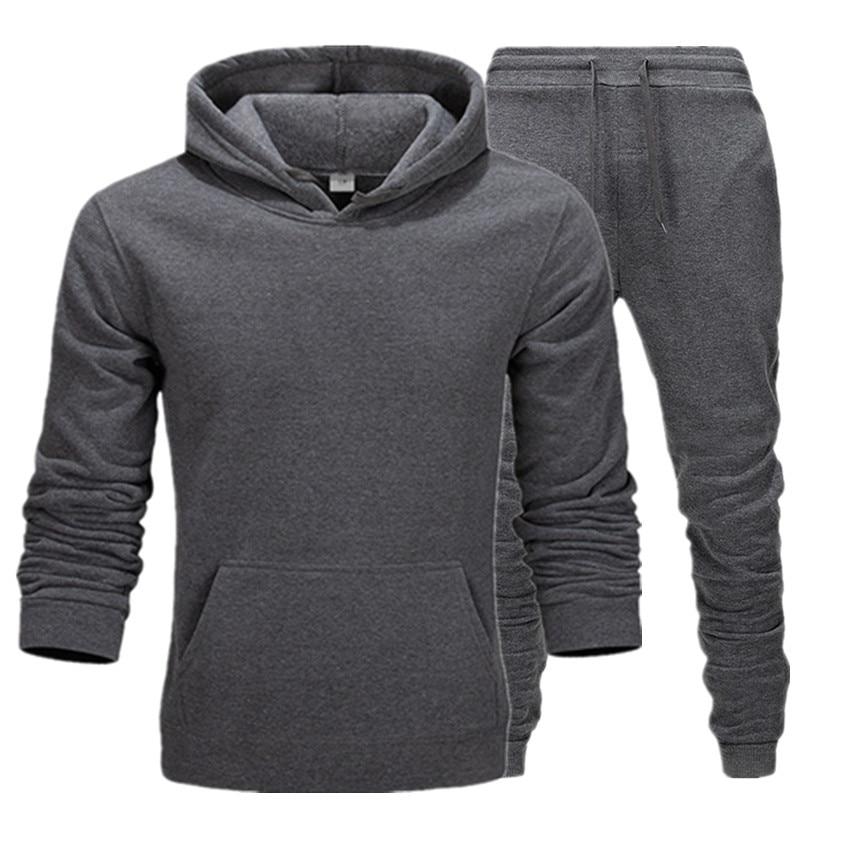 New Fashion Mens Hoodies Suits Brand Tracksuit Men's Hip Hop Sweatshirts+Sweatpants Autumn Winter Fleece Hooded Pullover