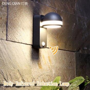 الجدة إضاءة ليد خارجية محس حركة ضوء الجدار أضواء مقاوم للماء الألومنيوم الجدار مصباح الممر الممر مدخل الشرفة ضوء