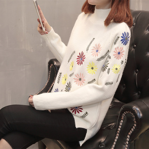 Image 4 - Neploe New Autumn Winter Sweater Elegant Floral Embroidery Pulover Long Sleeve Causal Jumper Female Loose Knitwear Tops