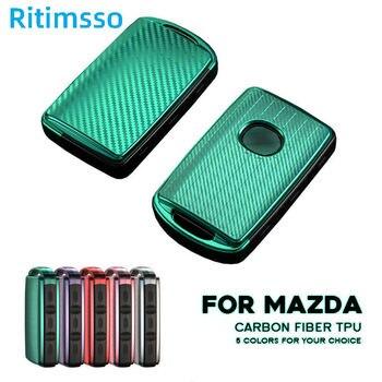 Funda de fibra de carbono suave para mando a distancia de Mazda, Protector de llavero con 3 botones, TPU, 3, 2019, 2020
