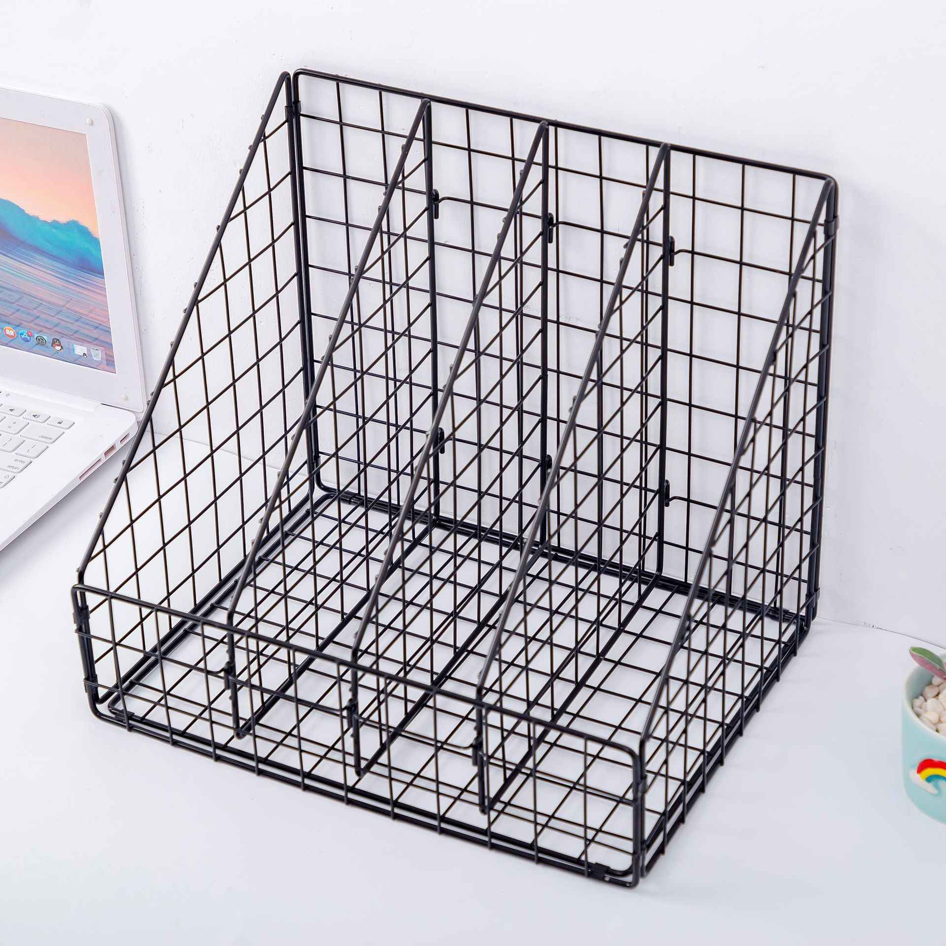 File Magazine Racks Tray Book Stand YSNBM Desktop File Holder 3 Layers Book Stand Hollow Storage Box Blue Magazine File Holder,Mail,Newspaper Desk Organizer Office Stationery Bookends