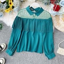 NiceMix 2019 autumn new sexy mesh patchwork ruffles long-sleeved T-shirt female fashion womens short great quality casual t-shir