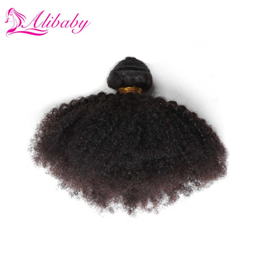 Alibaby Malaysia Rambut Menenun 3 Bundel Afro Curly Non Remy Warna Alami 100% Rambut Manusia Bundel Menenun Ekstensi