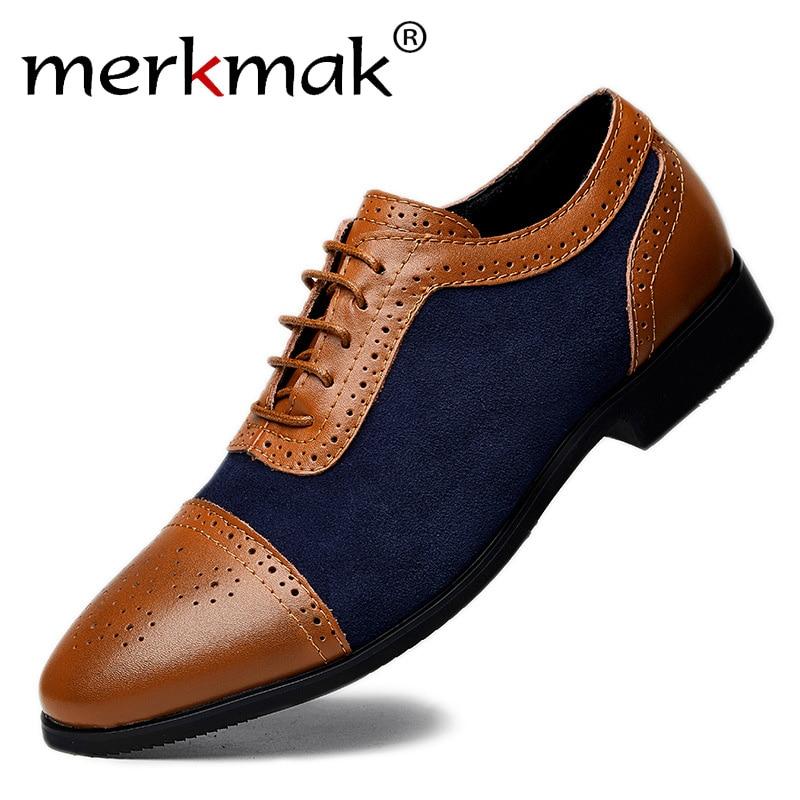 Merkmak Polka Dot Shoes Men Oxfords Elegant Pointed Leather Man Dress Shoes Wedding Party  Footwear Men's Flats PLUS Size 38-48