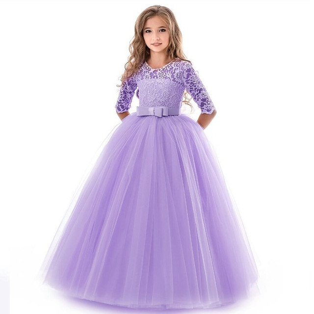 Kids Flower Girls Wedding Dress For Girl Party Dresses Lace Princess Summer Teenage Children Princess Dress 8 10 12 14 Years 3