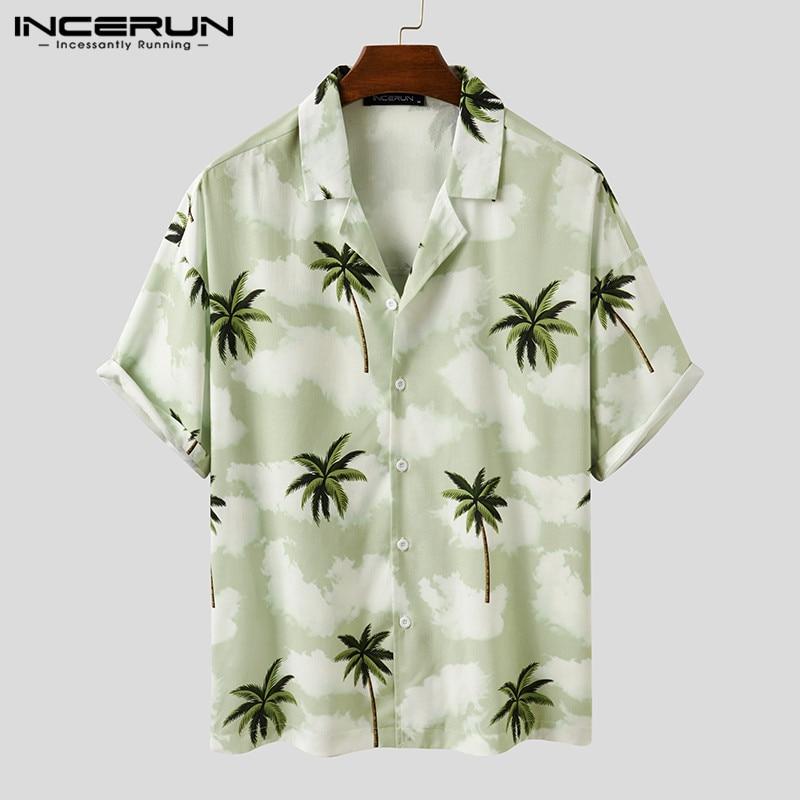 Men Hawaiian Shirt Printing Short Sleeve Breathable Casual Tropical Beach Shirts Vacation Lapel Streetwear Camisas INCERUN 2020