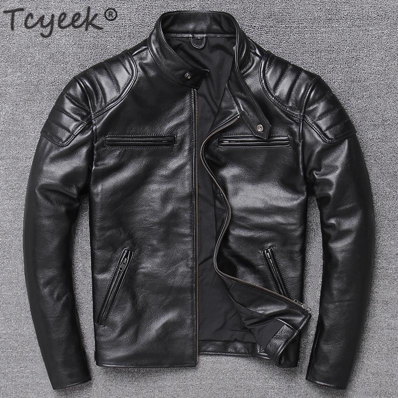 Tcyeek Genuine Leather Jacket Men Winter Clothes 2019 Motociclista Biker Real Cow Leather Coat Man Streetwear Fit Chaqueta W1756