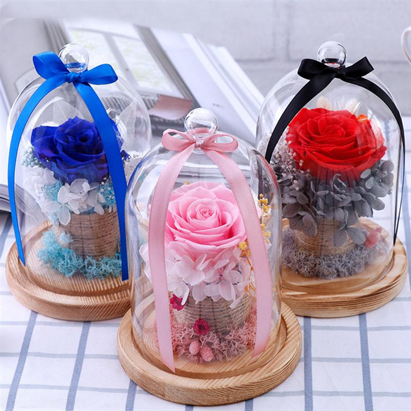 Preserved Rose Glass Cover Eternal Rose Glass Cover Valentine's Day Gift Rose Glass Cover Gift DIY for Girlfriends Wife