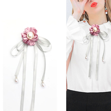 Fashion Flowers Ribbon Brooch New Fabric Women Necktie Collar Pins for Summer Shirt Dress Ladies Clothing Accessories