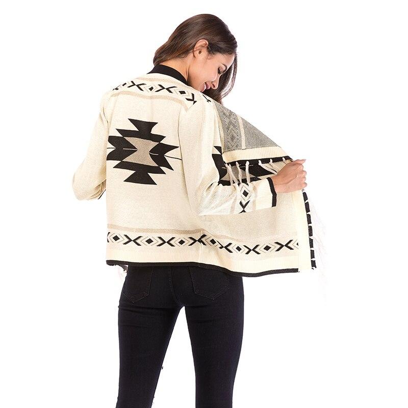 Новый Для женщин с длинными рукавами вязаная куртка с открытым воротом 2019 осень-зима отворот с геометрическими узорами; жакет женская комби...