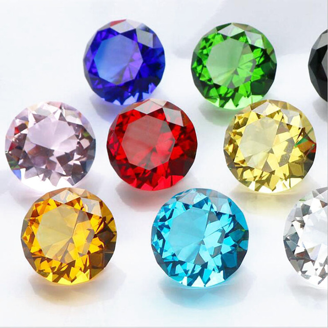 Mixed Color Shinning Crystal Diamond Paperweight Glass Figurine Feng Shui Craft Home Wedding Decor Ornament Gift Party Souvenir 6
