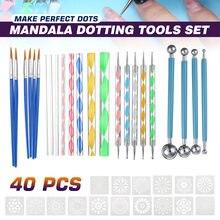33 pçs mandala conjunto de ferramentas pontilhar para pintura pedras cerâmica multifunções portátil ponto gravação kit conjunto ferramentas handwork decoração