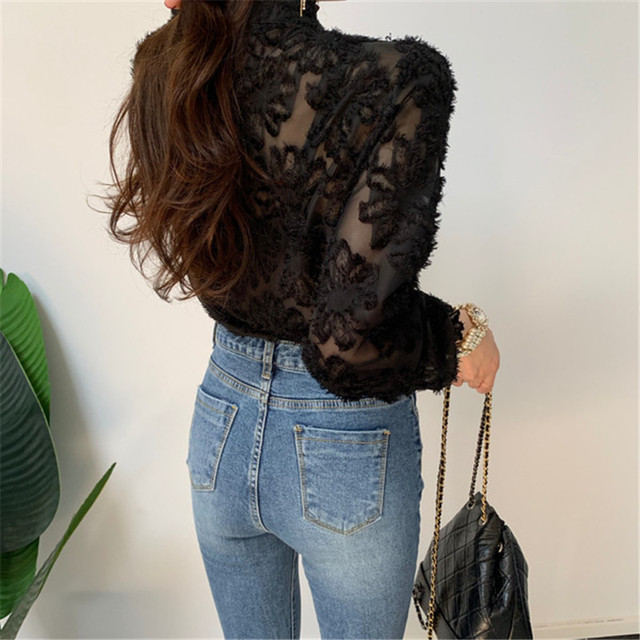 Women Crochet Lace Blouses Women Korean Ladies Solid Color Stand Collar Long Sleeve Blusa Vintage Blouse Spring Shirt Tops 2