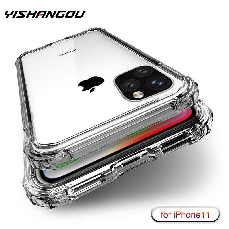 Étui pour iPhone 11 Pro Max X XS Max quatre coins renforcé silicone couvercle transparent pour iPhone XR 6 6S 7 8 Plus