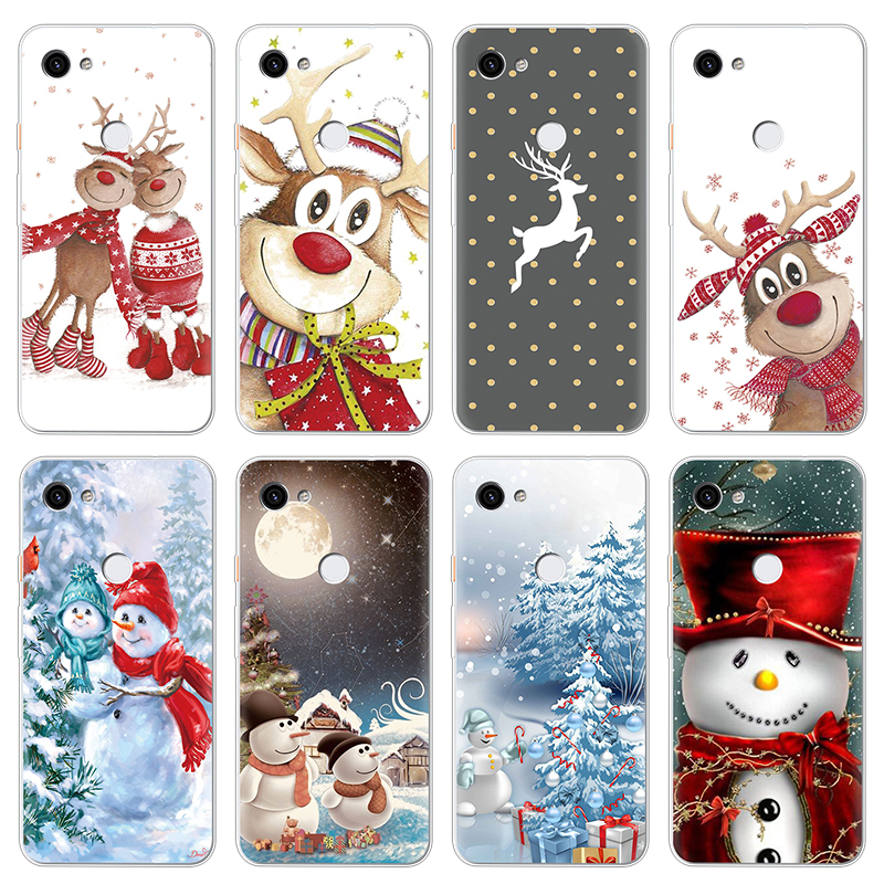 Merry Christmas Print Thin Transparent Soft TPU Cases For Google Pixel 3 2 For Google Pixel 3A XL Case Silicone Back Cover Coque