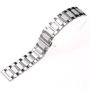 Image 4 - ステンレス鋼シルバーセラミック腕時計ブレスレットサムスンギアスポーツ腕時計ストラップギアs3 s2バンド銀河時計バンド20ミリメートル22ミリメートル