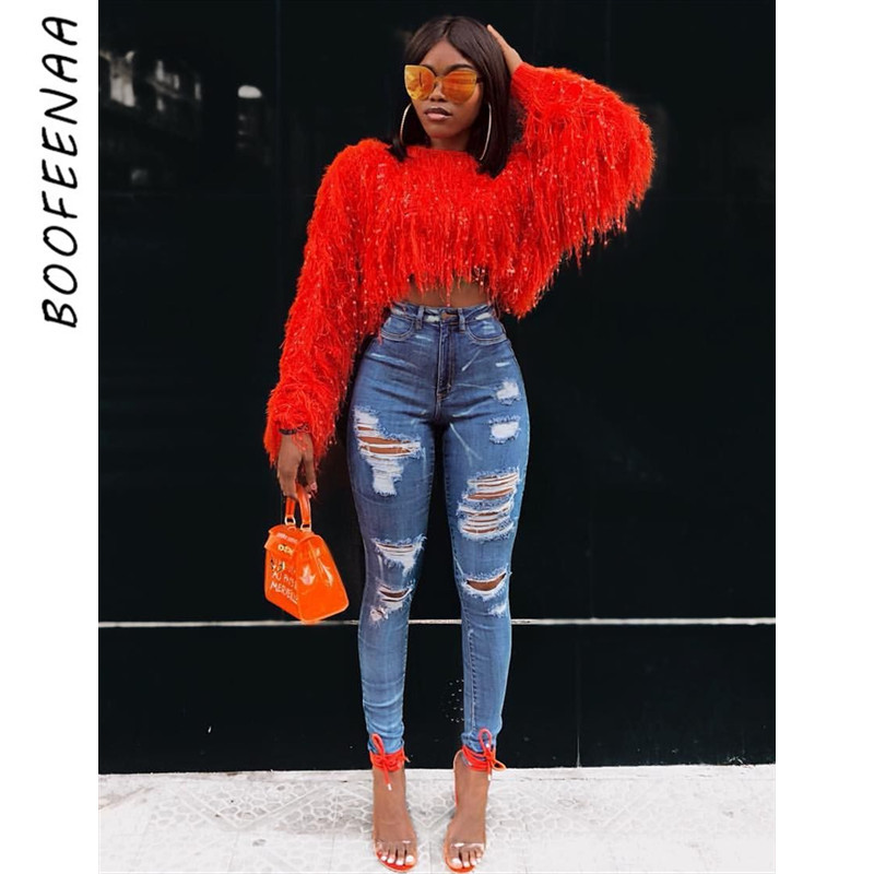 BOOFEENAA Fashion Fringed Knitted Sweater Women Cropped Oversized Pullover Sexy Ladies Winter Tops Solid Neon Jumper C48-AI33
