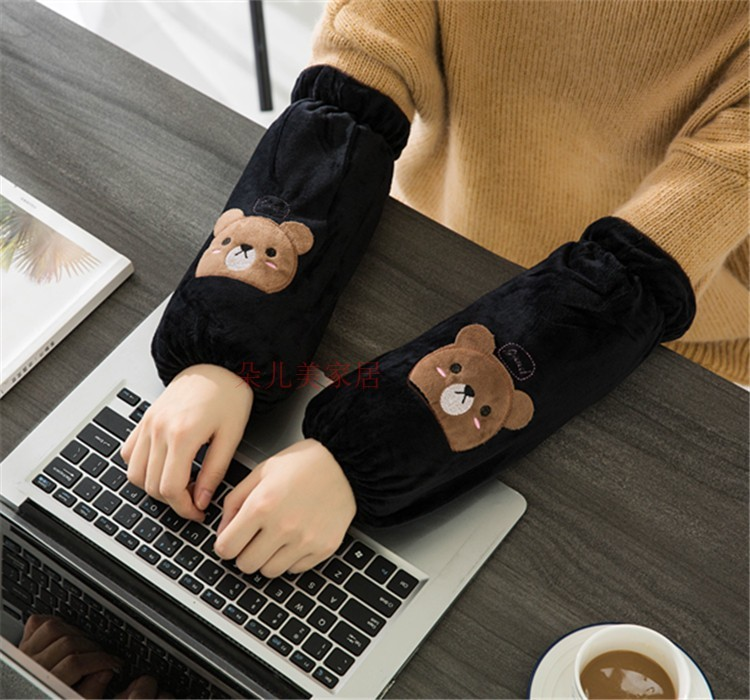 Korean-style Cuff Women's Winter Long Antifouling Dirt Plush Cartoon Sleeves Students Work Anti-Dirty Sleeve Cap Adult Oversleev