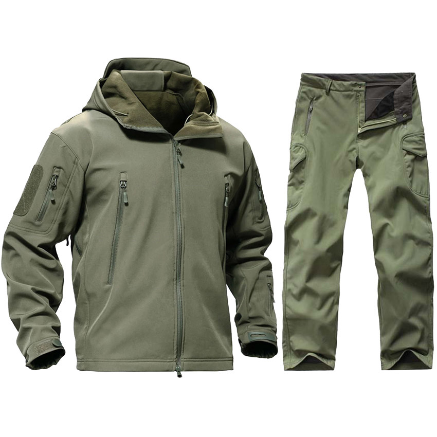 TAD Tactical Men Army Hunting Clothes Hiking Explore Suit Camouflage Sharkskin Softshell Military Waterproof Hooded Jacket+Pants