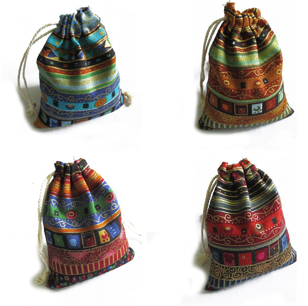 3Pcs Cotton  Gift Bags Multicolor Tribal Tribe Drawstring Jewelry Bags Pouches Package Storage Chinese Ethnic Style 9.5cm X12cm