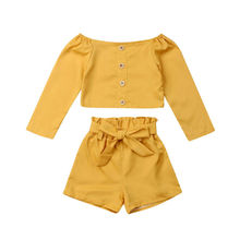 2019 New Toddler Baby Girls Kids Cotton Clothes T-shirt Tops+Shorts Casual Outfits Set Yellow Off Shoulder Shirt and Bow Short 2018 newborn toddler kids baby girls 3d rose floral off shoulder t shirt tops denim raw hem hot shorts outfits clothes 2pcs set