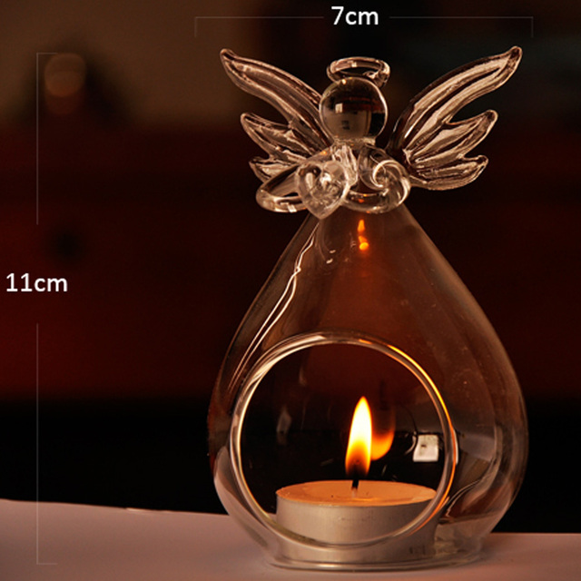 Cute Angel Glass Crystal Hanging Tea Light Candle Holder Home Decor Candlestick Home Room Family Decor Dropshipping 4