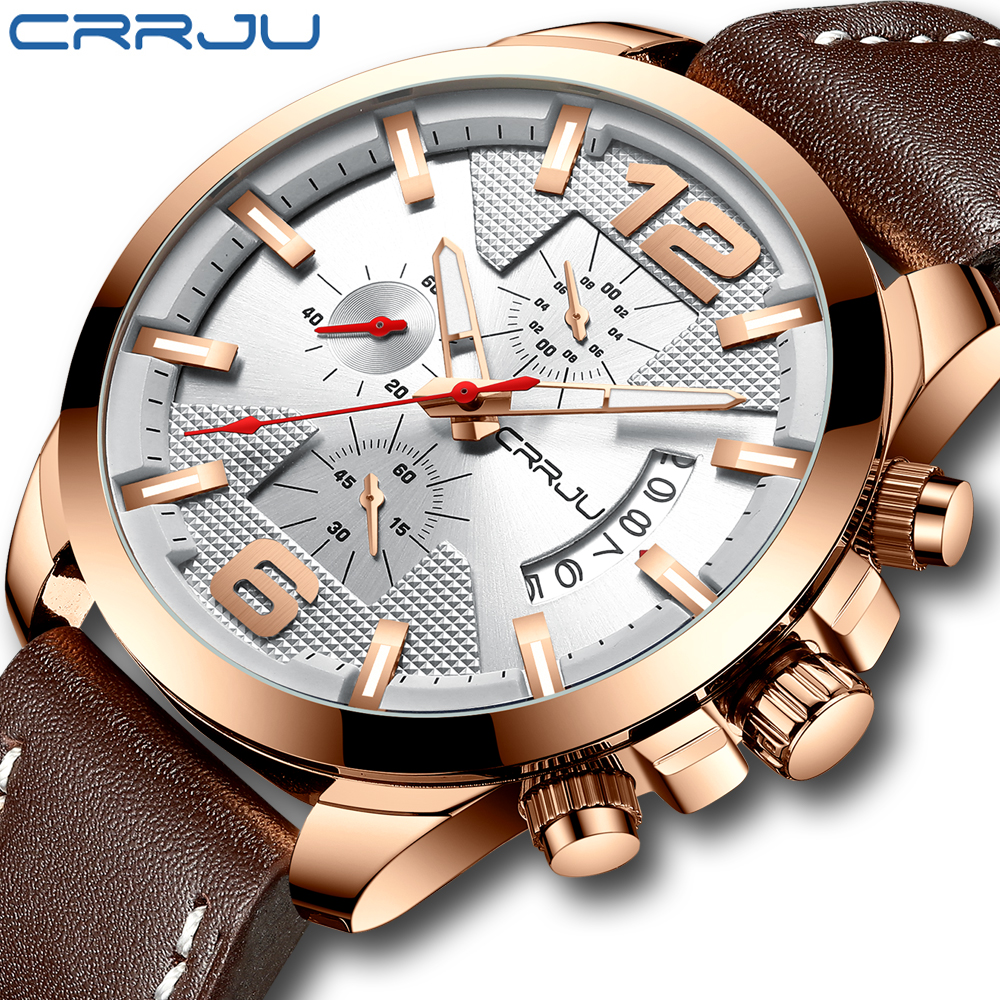 CRRJU brand October new unique flat three dial men's watch, high-end business watch, quartz waterproof men's watch