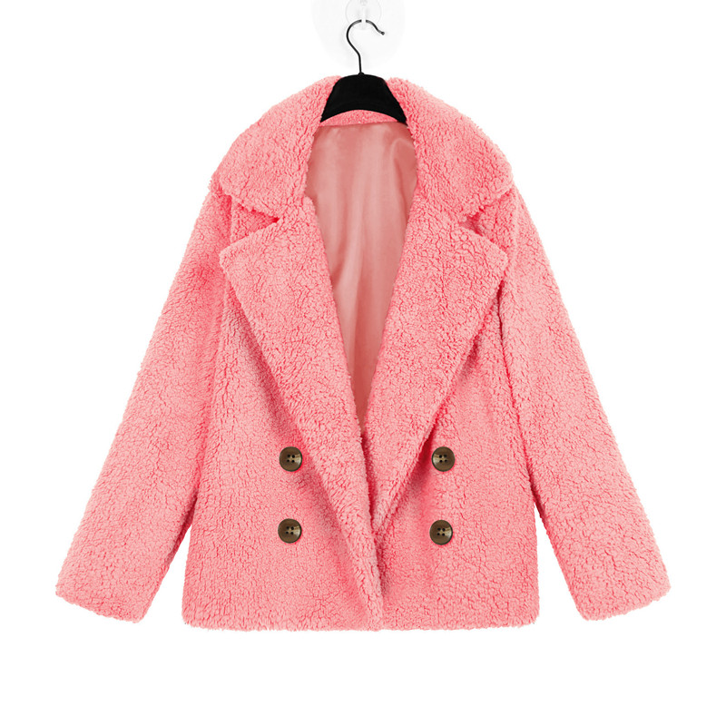 Elegant fall 2019 faux fur coat soft button winter coat women plus size fake fur coats harajuku pink teddy coat woman outwear in Faux Fur from Women 39 s Clothing