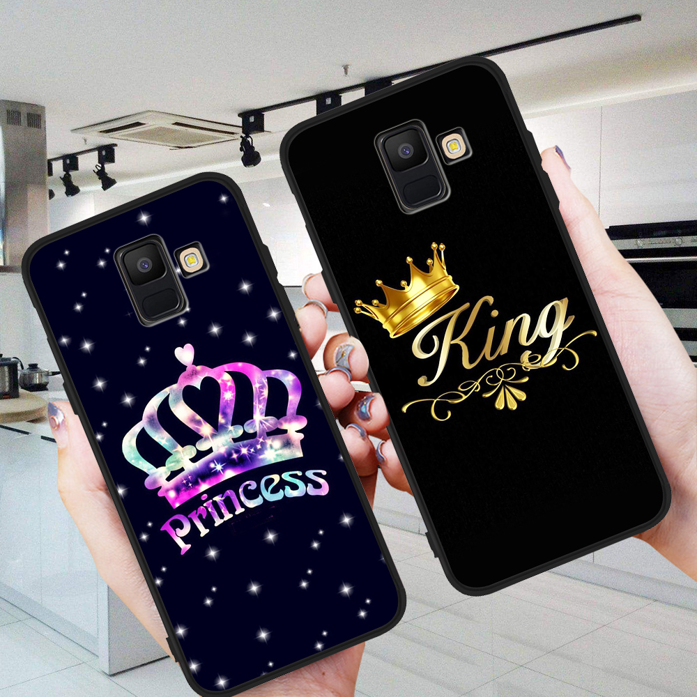 king queen luxury For Samsung Galaxy A9 A8 A7 A6 A5 A3 J3 J4 J5 J6 J8 Plus 2017 2018 M30 A40S A10 A20E phone Case etui couple image