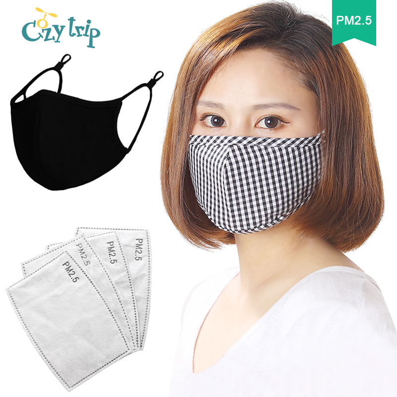 Summer Unisex Face Mask With PM2.5 Activated Carbon Mask Filter Anti Pollution Respiratory Mouth Mask Protective Mask Filter