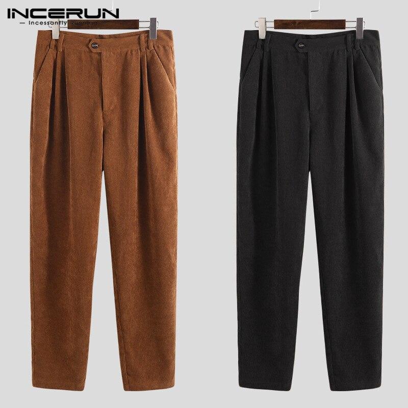 2019 Men Corduroy Pants Solid Baggy Joggers Button Fashion Casual Business Pants Hiphop Trousers Men Pantalon Streetwear INCERUN
