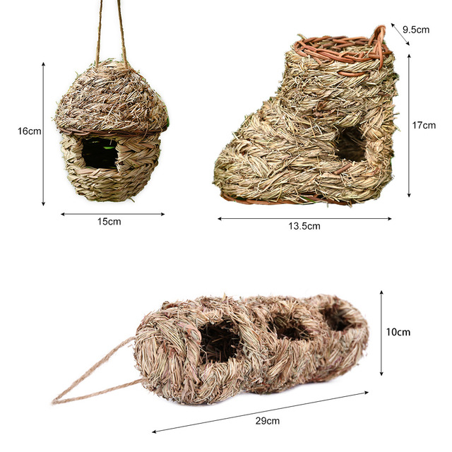 5 Styles Birds Nest Bird Cage Natural Grass Egg Cage Bird House Outdoor Decorative Weaved Hanging Parrot Nest Houses Pet Bedroom 6