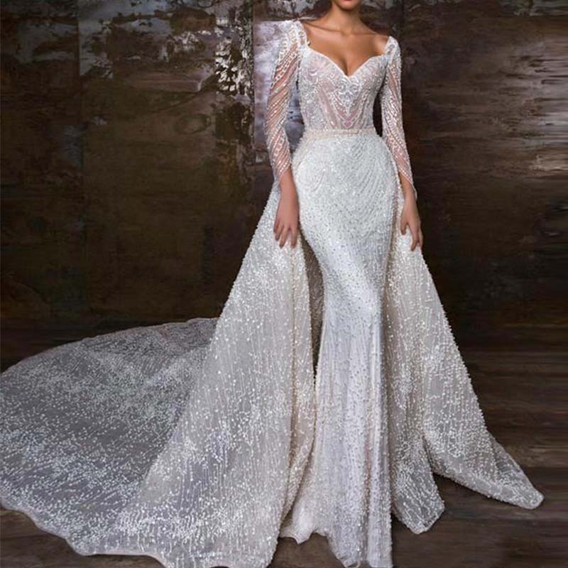 Vestidos De Novia 2020 Sweetheart Mermaid Wedding Dress Sexy Beading Long Sleeve Wedding Gowns Detachable Skirt