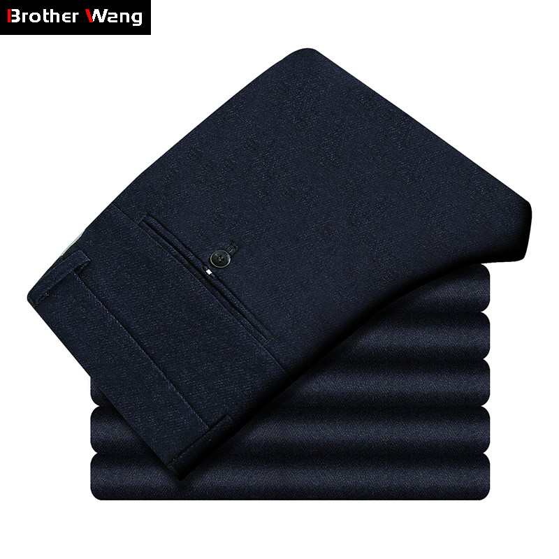 Brother Wang 2019 Autumn And Winter New Men's Casual Pants Business Fashion Slim Fit Thicken Trousers Male Brand Black Navy