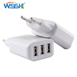 5V 2A Phone Charger EU plug 3 ports USB Quick Charge 3.0 Wall adapter for Mobile Phone Tablet Fast Charging White Travel Charger