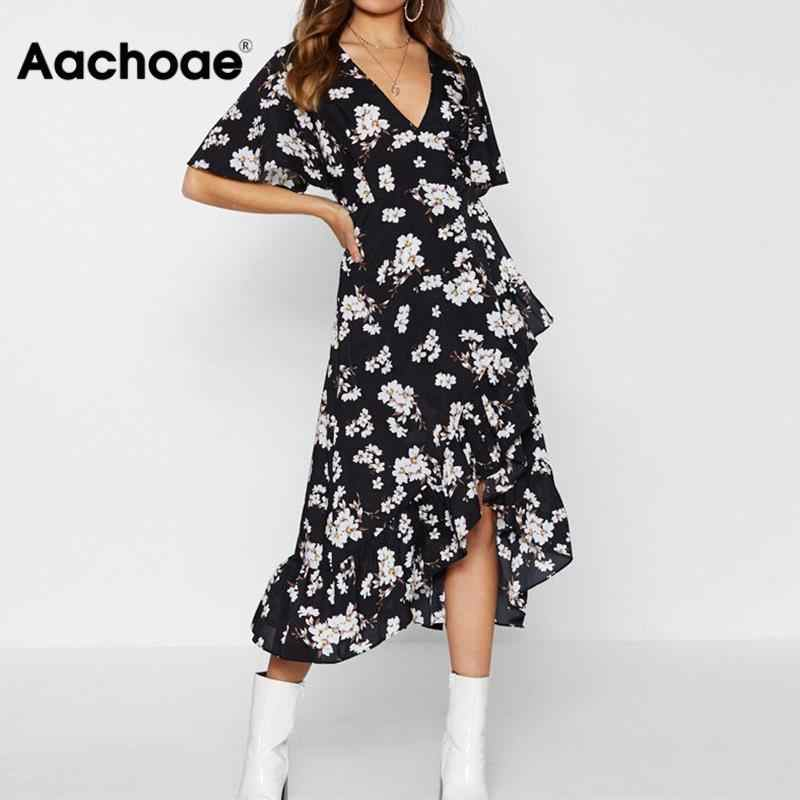 Aachoae Women Boho Floral Print Dress Sexy Summer Beach Dress Casual V Neck Short Sleeve Bandage Party Dress Sundress Vestidos