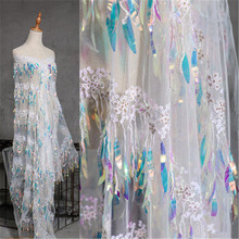 Gradient illusion fashion fabric small fish scale sequins laser lace dress curtain background cloth decoration fabrics
