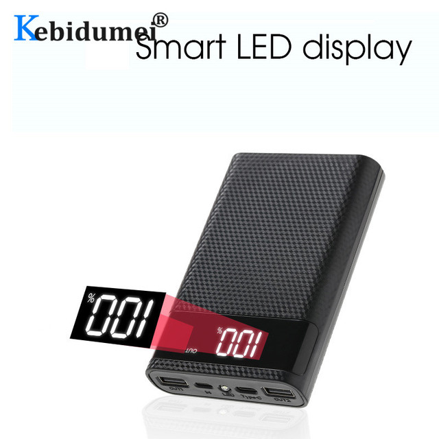 Kebidumei 4x18650 DIY Power Bank Case Battery Charge Storage Box 5V Dual USB Type C Android Micro USB Interface For Smart Phones