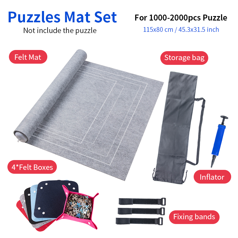 Puzzles Mat Jigsaw Roll Felt Mat Play mat Puzzles Blanket For Up to 2000 Pieces Puzzle Accessories Portable Travel Storage bag