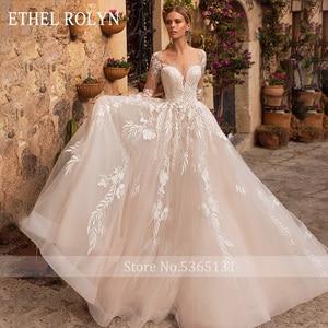 Image 3 - ETHEL ROLYN Romantische A Line Hochzeit Kleider Lange Hülse Taste Illusion Appliques Vestido De Noiva Robe De Mariee Braut Kleid