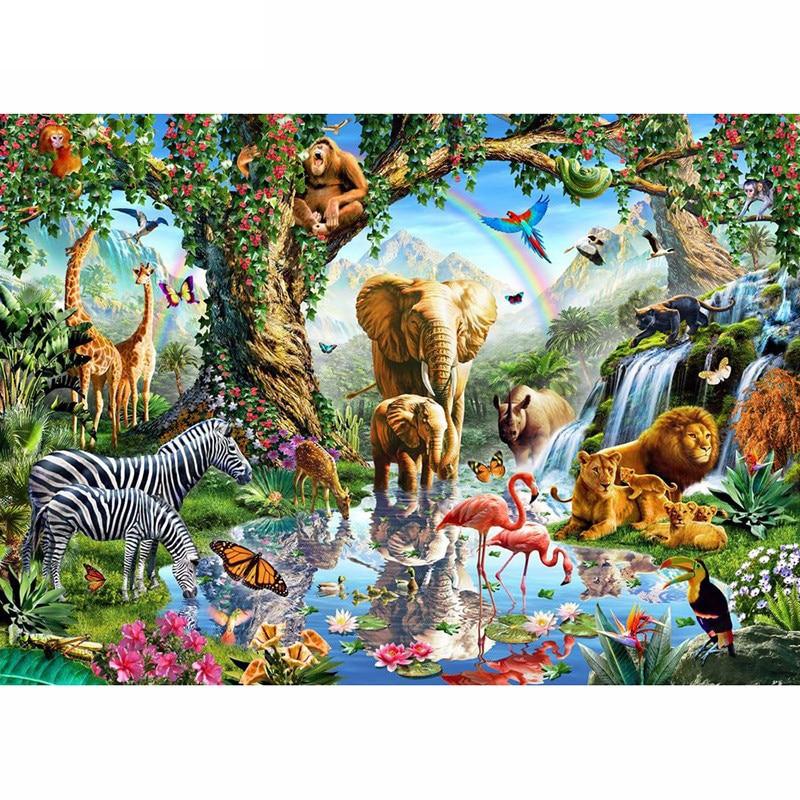 Nova 5D DIY Diamante Pintura Animal do jardim zoológico família Bordado Completo Quadrado Diamante do Ponto da Cruz de Strass Pintura Mosaico decoração da sua Casa
