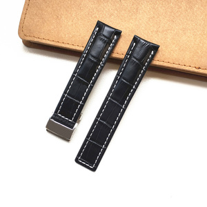 Image 2 - MERJUST 22mm 24mm Black Brown Blue Genuine Leather Watchband Wristband For Breitling Avenger Navitimer Watch Strap Wristband