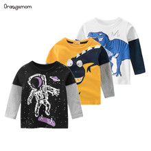 New Spring Children's Clothing Boy T-shirt Wholesale Big Dinosaur Pattern Baby Clothing Mother Kids Clothes With 100% Cotton T