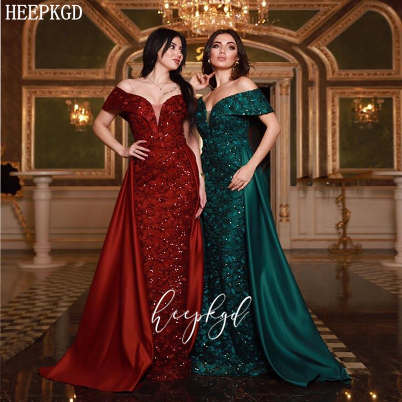 Burgundy Lace Middle East Women Evening Dress Off The Shoulder Mermaid Plus Size Special Occasion Dresses Long Prom Party Gowns