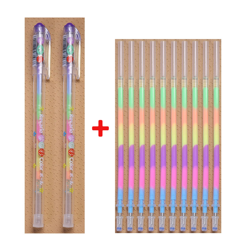 Combination 10 Refills + 2 Pen Sets 6 Colors Rainbow Refills School Office Supplies Children'S Graffiti Learning Stationery