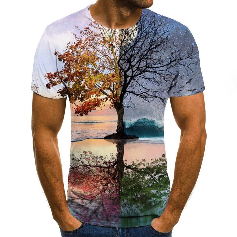 New Women Men Forest Tree Funny Print Casual 3D T-Shirt Short Sleeve Tops Tee