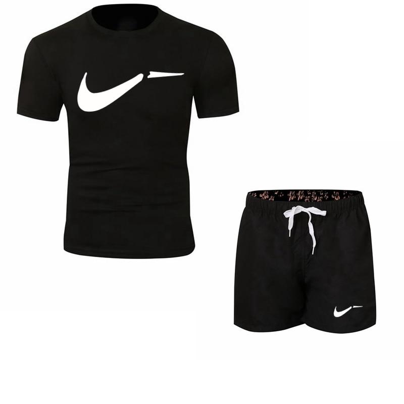 2019 Fashion New Tracksuit Men Two Piece Short Pant+t-shirts Summer Cool Sweatshirts Suit Brand Male T-shirt Jogging Homme Suit